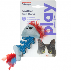 PETSTAGES PLAY FISH BONE игрушка для кошек с кошачьей мятой голубая