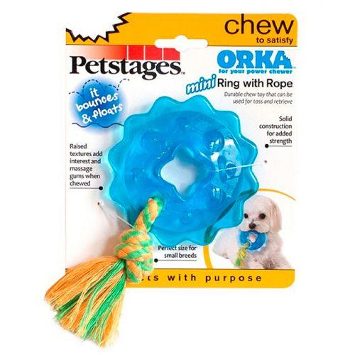 PETSTAGES ОРКА КОЛЬЦО С КАНАТОМ игрушка для собак mini диаметр 8 см маленькая