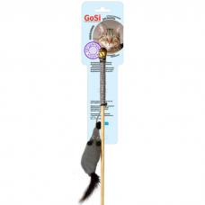 Игрушка для кошек GOSI 07084 МЫШЬ С НОРКОВЫМ ХВОСТОМ НА ВЕРЕВКЕ махалка с колокольчиком