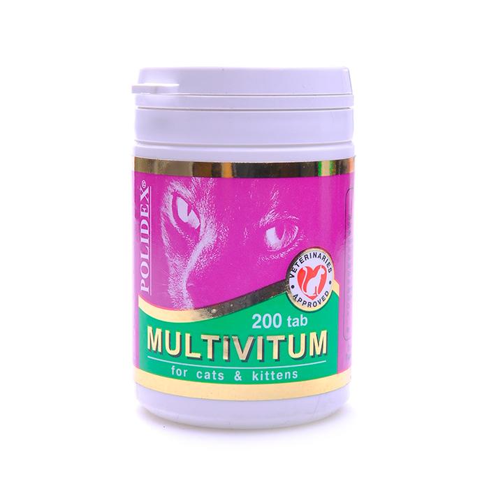POLIDEX MULTIVITUM для нормальной жизнедеятельности витамины для кошек 200таб