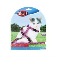 TRIXIE 4144 нейлоновая шлейка с поводком для котят 21-32см, 8мм розовая с рисунком