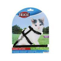 TRIXIE 4182 нейлоновая шлейка с поводком для котят черная