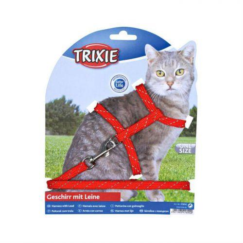 TRIXIE 4183 нейлоновая шлейка с поводком с отражателем 30 см, 10 мм красная