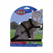 TRIXIE 4185 нейлоновая шлейка с поводком для кошки 22-42 см, 10 мм черная