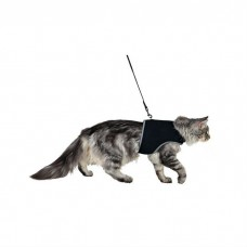 TRIXIE 41895 шлейка мягкая с поводком для кошек XL 36–54 см, 1.2 м, чёрная