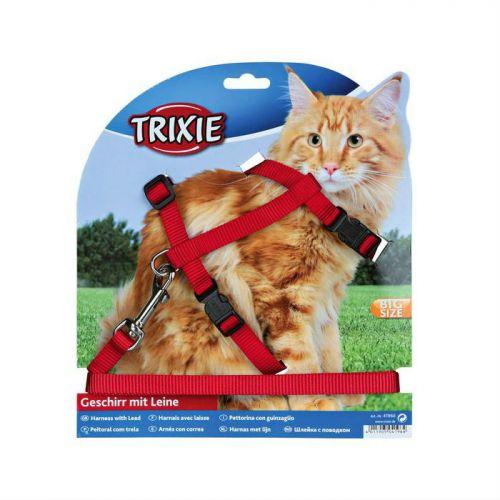 TRIXIE 41960 шлейка с поводком для крупных кошек 34-57см, 13мм красная