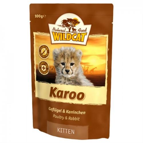 WILDCAT KAROO Kitten с курицей индейкой и кроликом пауч для котят 100 г