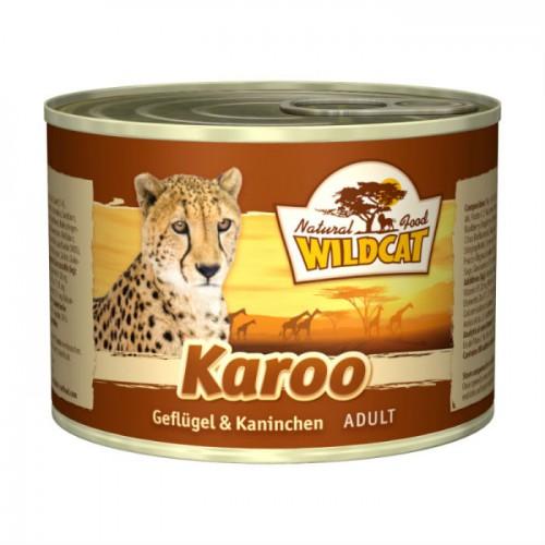 WILDCAT Karoo с курицей индейкой кроликом и лососем консервы для кошек 200 г